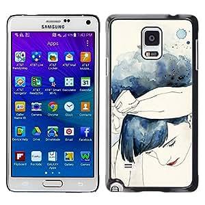 rígido protector delgado Shell Prima Delgada Casa Carcasa Funda Case Bandera Cover Armor para Samsung Galaxy Note 4 SM-N910F SM-N910K SM-N910C SM-N910W8 SM-N910U SM-N910 /Watercolor Girl Blue Hair/ STRONG