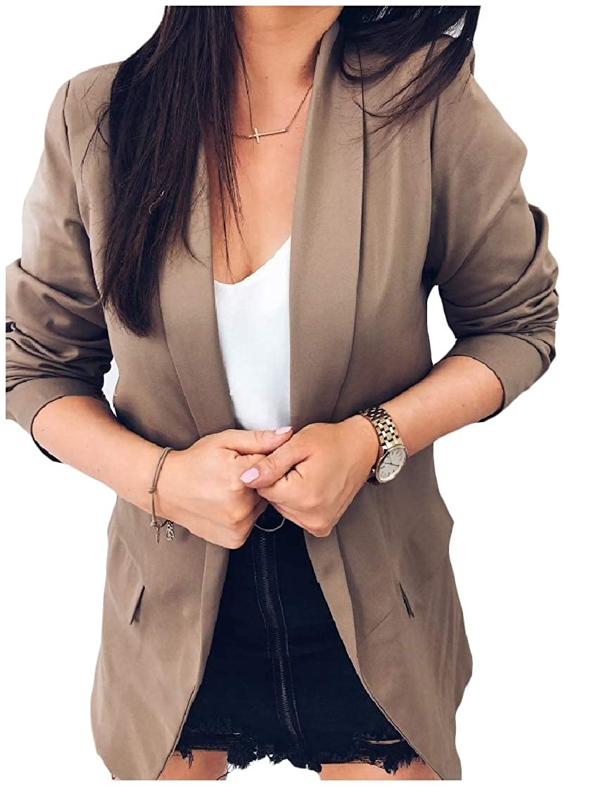 YUNY Womens Classic Work Solid Color Elegant Silm Fit Lapel Outwear Blazer Brown S