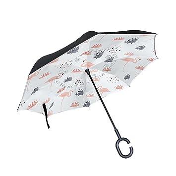 Mnsruu - Paraguas invertido de Doble Capa con diseño de flamencos Rosas y Hojas con protección