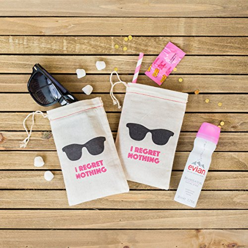 Bags|Hangover Kit Bags|Cotton Muslin Drawstring Bag|First Aid Kit|Survival Kit|for Wedding Bridal Shower Bachelorette Party Hen Party Recovery Kit Bags 4 x 6 Inch(I REGRET NOTHING) (Party Survival Kit)