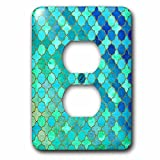 3dRose Uta Naumann Faux Glitter Pattern - Luxury Trendy Green and Blue Moroccan Arabic Quatrefoil Tile Pattern - Light Switch Covers - 2 plug outlet cover (lsp_268956_6)