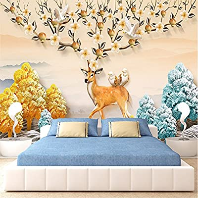 XLi-You 3D Nordic hd elk modern minimalist wall paper custom tv wall videos wall painting