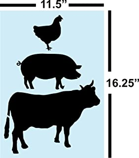 Cow Pig Rooster Farm Stack STENCIL For Painting Signs Reusable 14 Mil