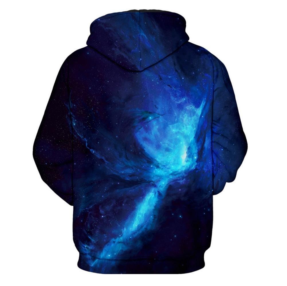 YYHSO Pareja Casual Sudaderas Galaxia Azul 3D Impreso Respirable por Hombres Mangas Largas Sudaderas con Capucha: Amazon.es: Deportes y aire libre