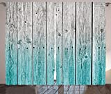 Ambesonne Rustic Curtains Decor, Wood Panels Background with Digital Tones Effect Country House Image, Living Room Bedroom Window Drapes 2 Panel Set, 108 W X 84 L inches, Teal Grey