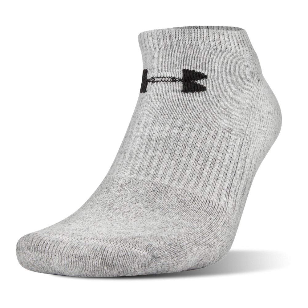 Under Armour UA Charged Cotton 2.0 No Show Socks - 6-Pack MD True Gray Heather by Under Armour