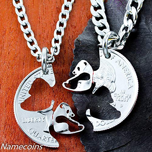 Panda Necklace set, Asian Jewelry, Interlocking Couples Necklaces, Hand Cut Coin, By NameCoins