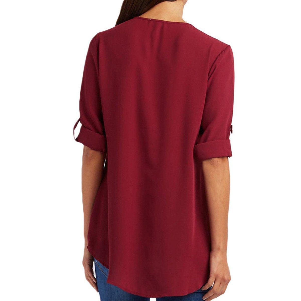 Mujer Blusas y Camisas Las Mujeres Gasa Blusa V Cuello Cremallera de Gran Tamaño Mangas largas Camisa Suelta Blusa Vestidos Más el Tamaño: Amazon.es: Ropa y ...