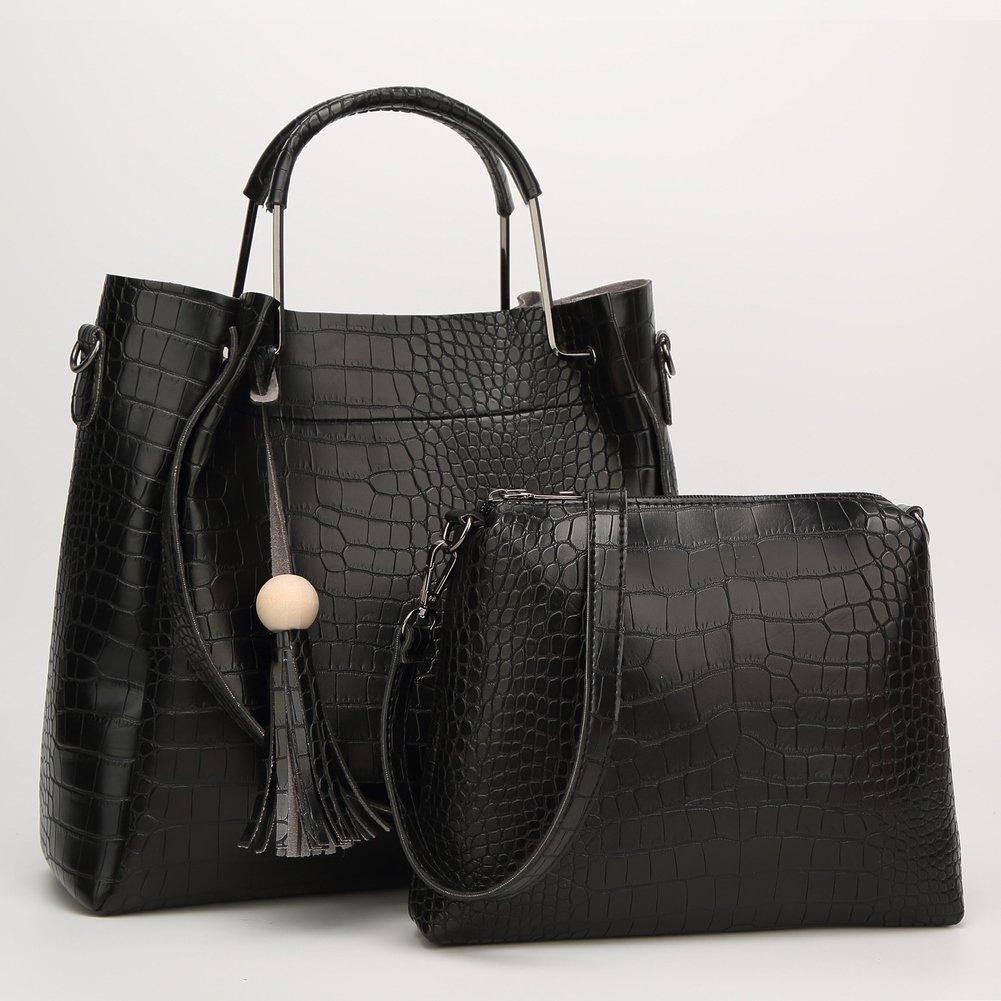 Mutter Eimer Tasche Schulter Messenger Handtasche Weibliche Paket Krokodil Muster Mutter Paket , schwarz