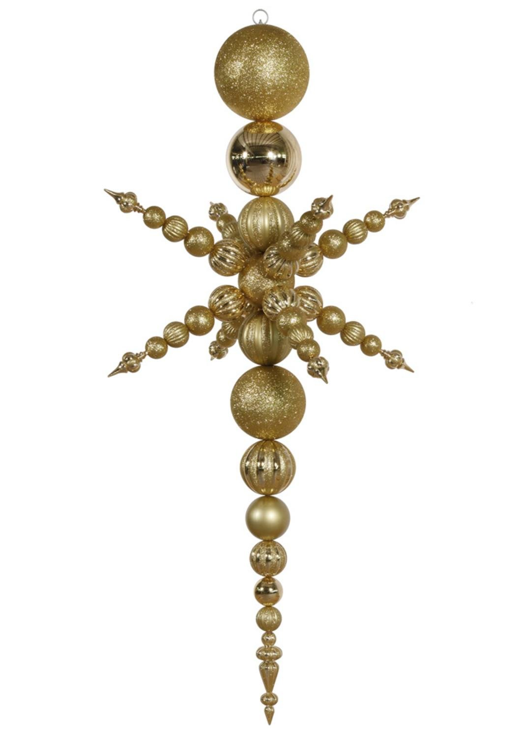 76'' Gold Commercial Shatterproof Radical 3-D Snowflake Christmas Finial Ornament