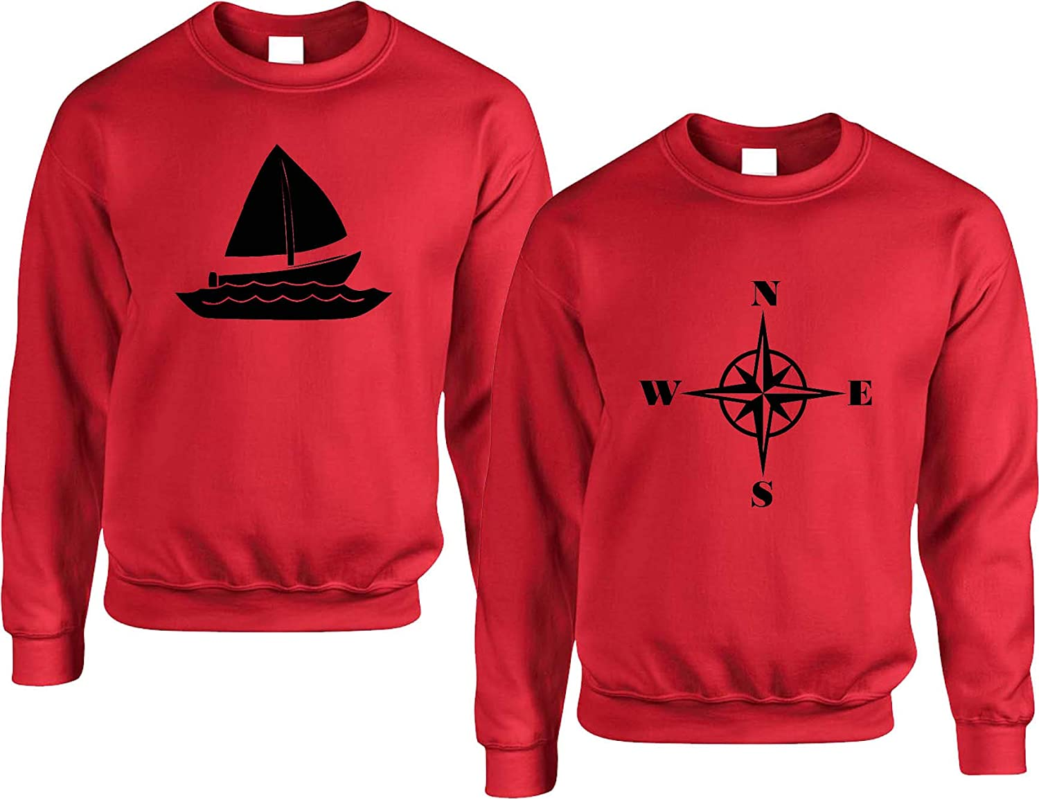 Allntrends Couple Sweatshirt Sailing Boat and Compass Matching Valentines Tops Womens L Mens L, Red