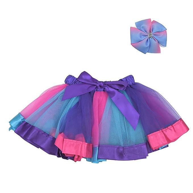 Amazon.com: topwon Niñas Arco Iris tutú falda de baile lazo ...