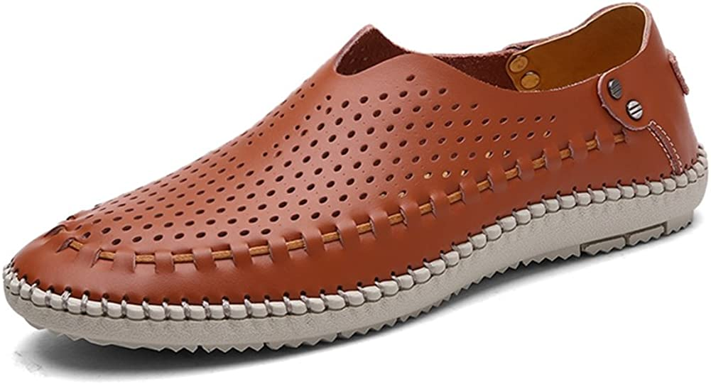 HTAO Mens Casual Hollow Breathable Flats Loafers
