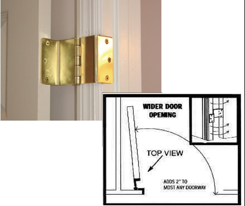 Handicap Brass Expandable Door Hinges - 2 Hinges by MARS Wellness (Image #1)