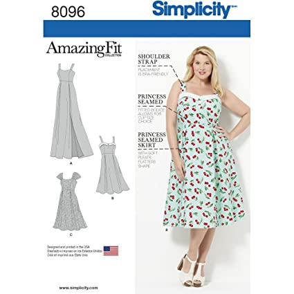 Simplicity Creative Patterns US8096GG Amazing Fit Plus Size Dresses, Size  GG (26W-28W-30W-32W)