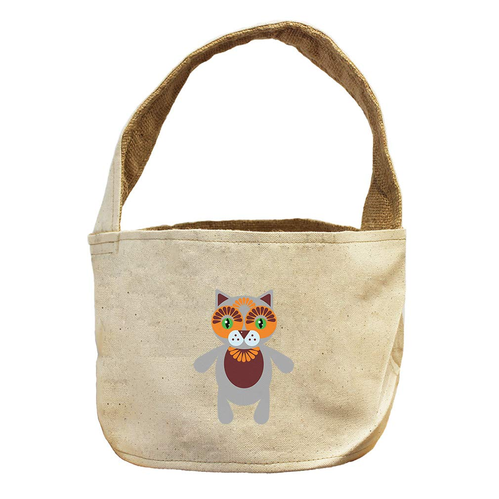 Cat in Ornament Animals Canvas and Burlap Storage Basket