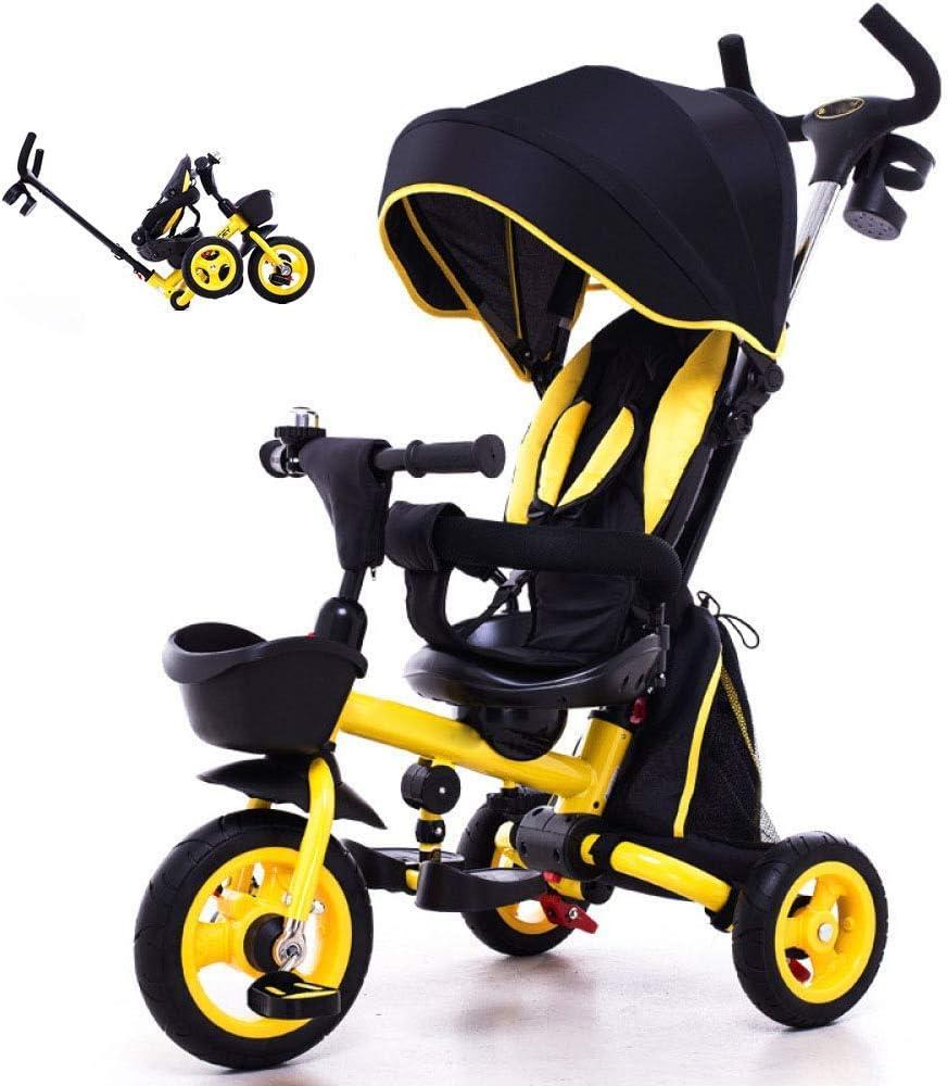 WJSWYE Triciclo para Niños, Triciclo Plegable para Niños 4 En 1 12 Meses A 6 Años Cochecito De Bebé Giratorio 360 ° Plegable Sol Canopy Trikes para Niños con Asa para Padres,A