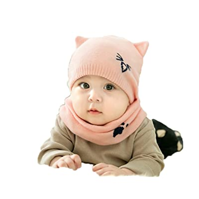 StylishYoung Baby Toddler Warm Beanie Hat Hooded Scarf Earflap Knitted Cartoon Cap