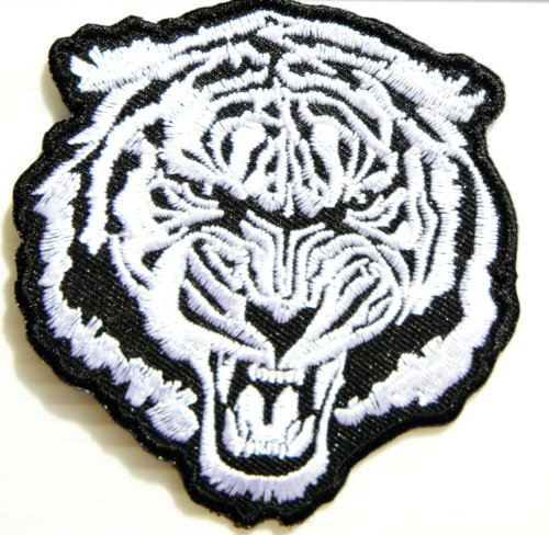 White Bengal Tiger Wild Animal Choppers Lady Rider Biker Tatoo Jacket T-shirt Patch Sew Iron on Embroidered Sign Badge Costume