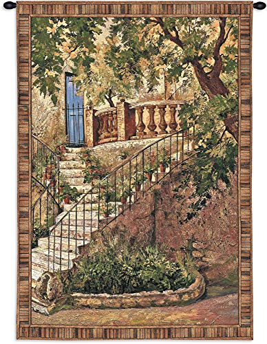 Tuscan Villa I by Roger Duvall | Woven Tapestry Wall Art Hanging | Rustic Italian Steps with Foliage | 100% Cotton USA Size 53x40