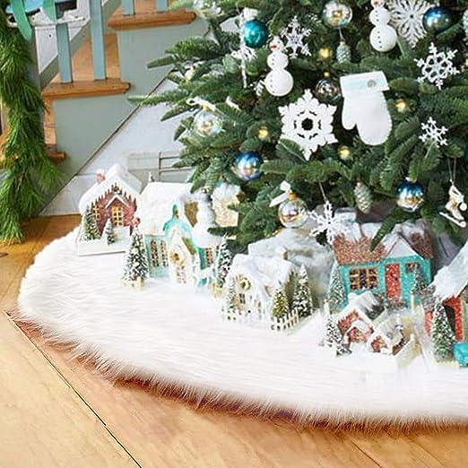 Surfmalleu Falda Blanca de Árbol de Navidad de Decoración Felpa de ...