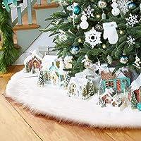 Surfmalleu Falda Blanca de Árbol de Navidad Decoración Navideña Felpa de Papá Noel con Largo Pelo Ornamentos de Árbol Piel Sintética Cubierta de Base del Árbol Tree Skirt