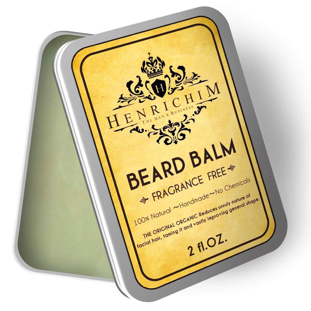 Richim Beard Balm- Made with All Natural and Organic Ingredients Rich Bees Wax, Argan, Tea Tree, No Artificial Scent, For Beard Styling and Beard Growth(2 oz)