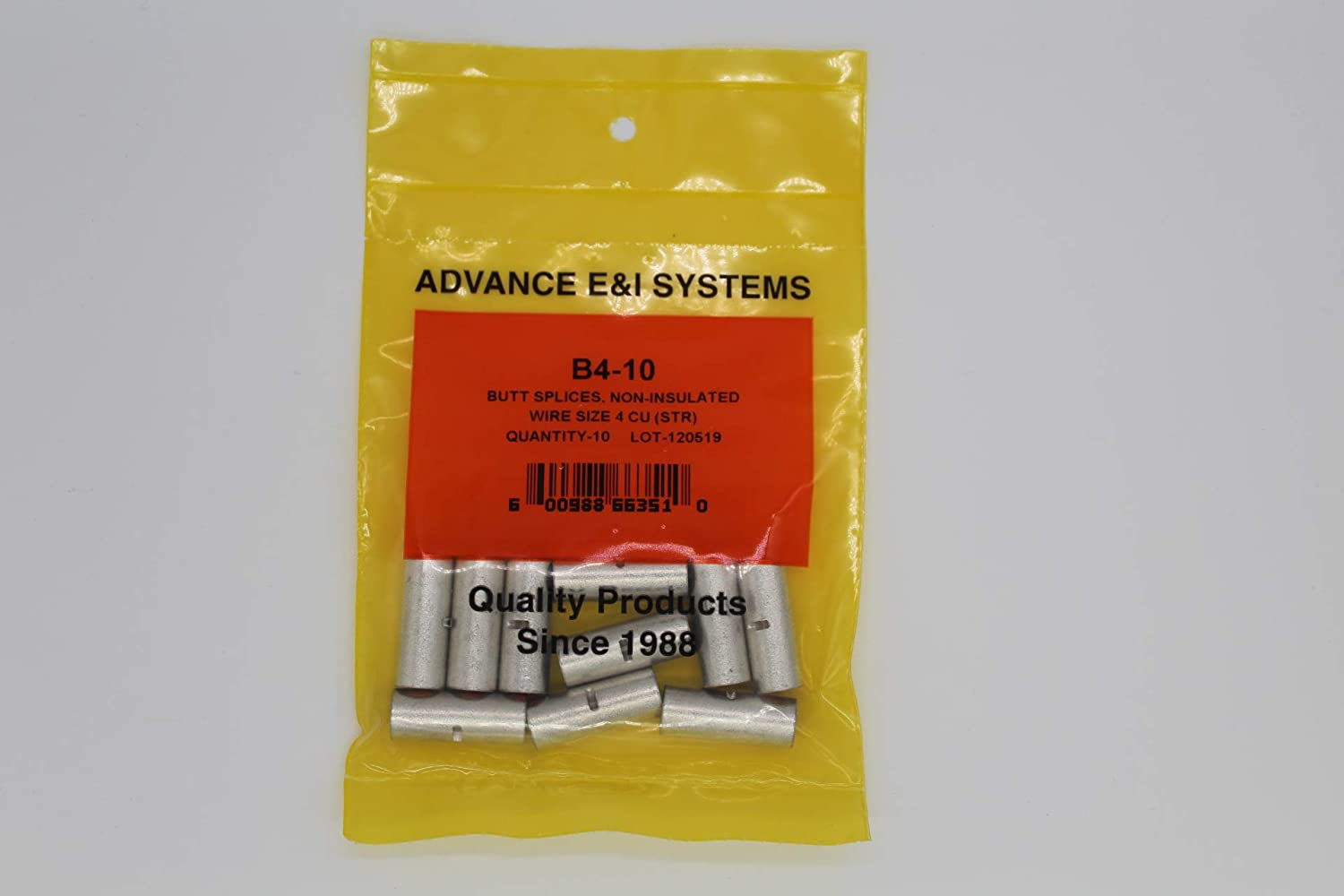 6 AWG Non Insulated Seamless Butt Connectors 20 Pack Advance E /& I Systems