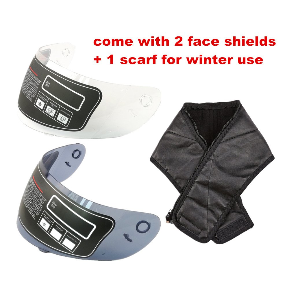 ILM Full Face Motorcycle Street Bike Helmet with Removable Winter Neck Scarf + 2 Visors DOT (L, Red) by ILM (Image #6)