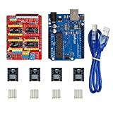 Gowoops 3D Printer kit CNC Shield V3 Expansion Board + UNO R3 Board + 4PCS DRV8825 Step Motor Driver with Heatsinks for Arduino