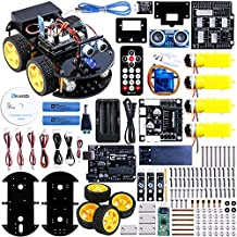 ELEGOO UNO Project Upgraded Smart Robot Car Kit with UNO R3, Line Tracking Module, Ultrasonic Sensor, Bluetooth Module ECT. Intelligent and Educational Toy Car for Kids Teens V2.0