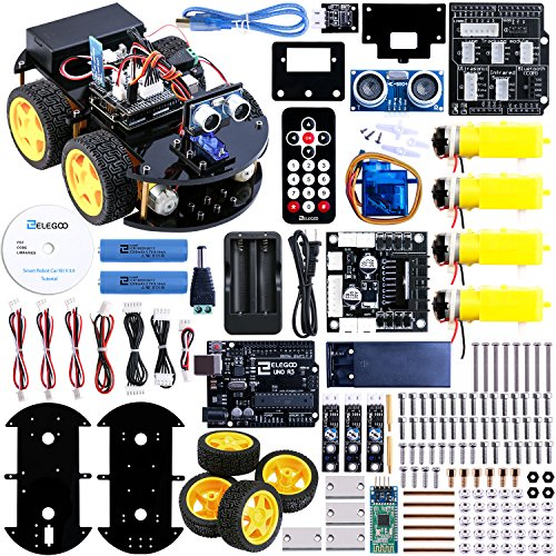 Elegoo EL-KIT-010 UNO Project Upgraded Smart Robot Car Kit with UNO R3, Line Tracking Module, Ultrasonic Sensor, Bluetooth module ect ()