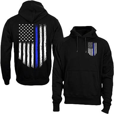 American Flag Thin Blue Line Sweatshirt Police USA Law Enforcement Sweater