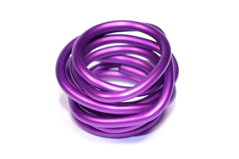 Bague en aluminium anodisé.Couleur violet.Modèle Lunaire Noeud