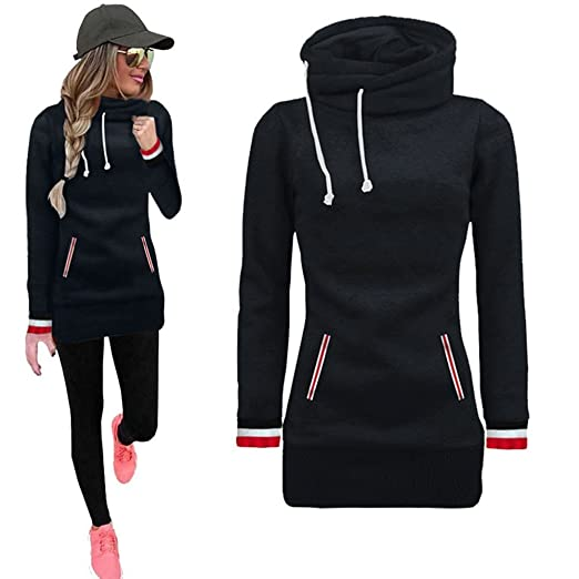 1d16fdfc62c Women Pullovers Tops for Winter,Womens Long Sleeves High Collar Casual  Plain Blouse Sweater Sweatshirt