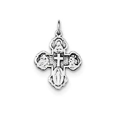 Sterling Silber Antik Mini 4-Wege-Medaille Kreuz Anhänger: Amazon.de ...