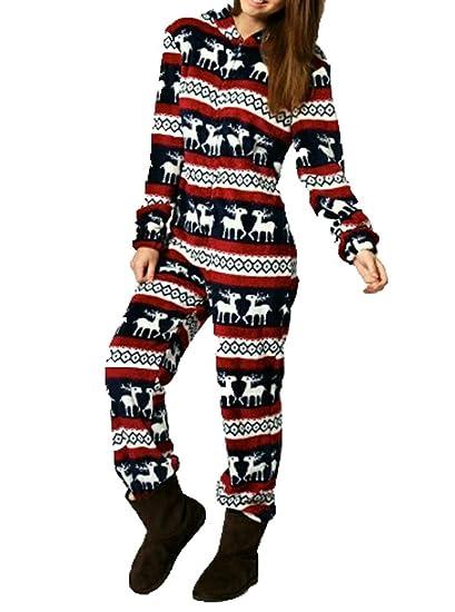 FISACE cozy Women's Snow Deer Christmas Hoody Jumpsuit Reindeer Pajamas Santa Clause Costume