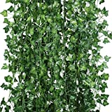 Houda Artificial Hanging Plant 84 Feet Silk English Ivy Vine Garland Arrangement Faux Fake Flower Green Leaves Wreath Home Kitchen Garden Office Wedding Wall Banister Cosplay Costume Decor Pack of 12