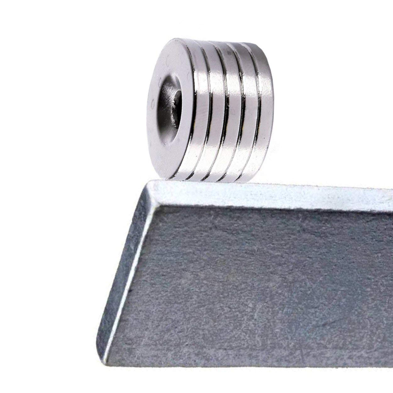 Lorenlli 5 Unids//Set N52 Imanes de Disco Im/án Magn/ético de Tierras Raras de Neodimio 20x3mm Bloque Magn/ético con Di/ámetro de Agujero 5mm