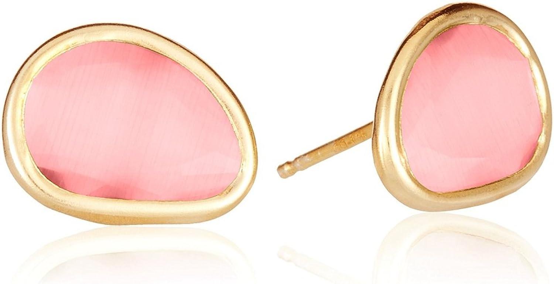 Córdoba Jewels |Pendientes en plata de Ley 925 bañada en oro. Largo 11x13mm. semipreciosa Cierre: Presión. Diseño Kiut Cuarzo Rosa