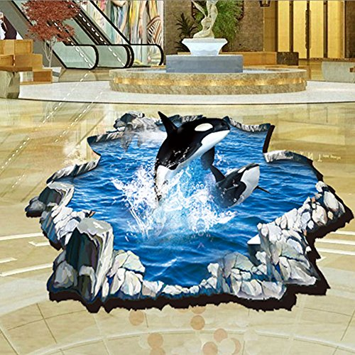 3d Submarine Jump Whales Sea Wall Decal Home Sticker Pvc