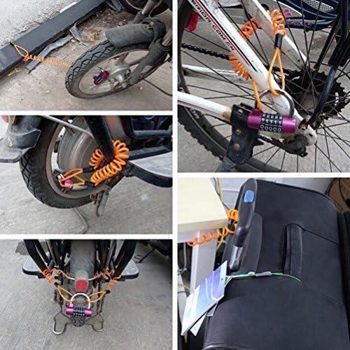 biciclette motociclette scooter Giallo Blocco bici allarme allarme Blocco cavo promemoria Blocco disco Sicurezza antifurto Cavo bobina promemoria per moto Cavo bobina di promemoria