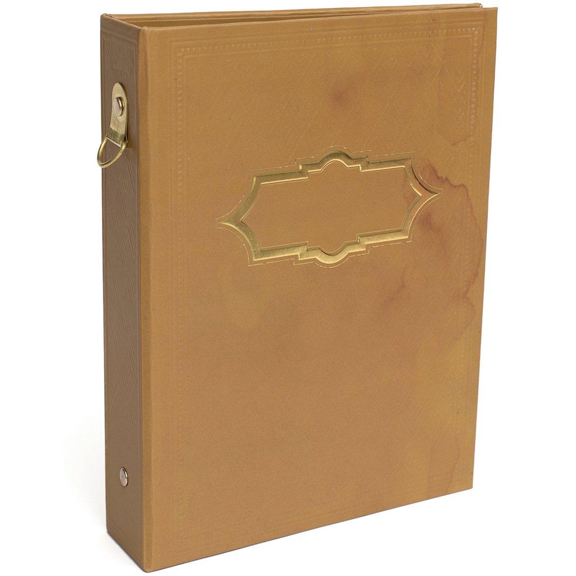 American Crafts Memory Binder 5''X7''-Wanderlust, Vintage W/Gold Foil
