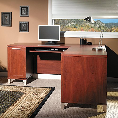 Somerset 71W L Shaped Desk in Hansen Cherry by Bush Furniture