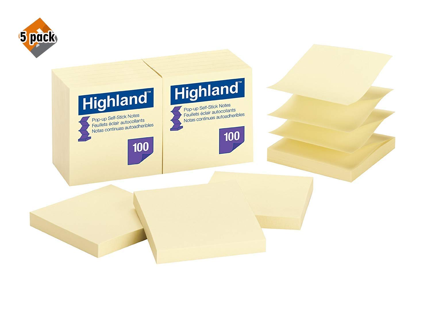 Highland Pop-up Notes, 3 x 3-Inches,Yellow, 12-Pads/Pack - Pack of 5