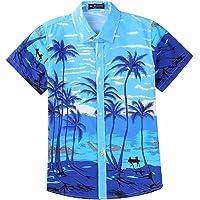 EElabper Camisa hawaiana de manga corta con estampado de coco para hombre