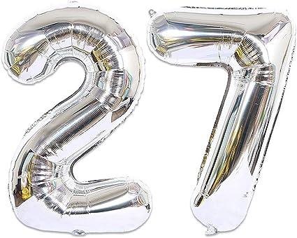 Huture 2 Globos Número 27 Figuras Globo Inflable de Helio Globos Grandes de Aluminio Mylar Globos de Plata Gigantes Número Globos 40 Pulgadas para Fiesta de Cumpleaños decoración graduación XXL 100cm