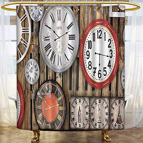 Shower Curtains with Shower Hooks Clocks on The Wall Instruments of Time Ative Brown and Red Fabric Bathroom Set with Hooks W108 x H72 inch ()