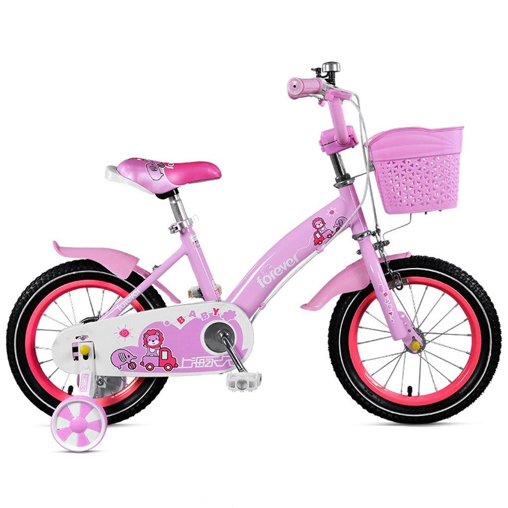 子供用自転車2-4歳ガールズペダル自転車12インチ子供用ベビーカー高炭素鋼自転車、ピンク/ブルー (Color : Pink) B07CVT357Q