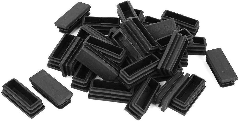 LDEXIN 48x19mm Rectangle Plastic Tubing Inserts End Furniture Table Chair Pipe Leg Plug Black 18pcs